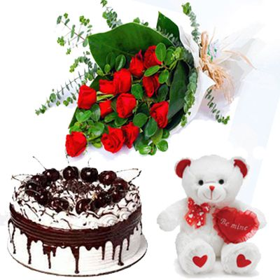 Teddy+12 Roses+1/2kg Blackforest Cake