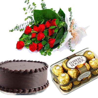 10red rose+1/2 kg. Chocolate Cake