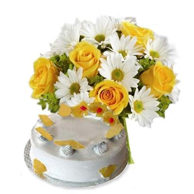 Combo of Gerberas and Cake