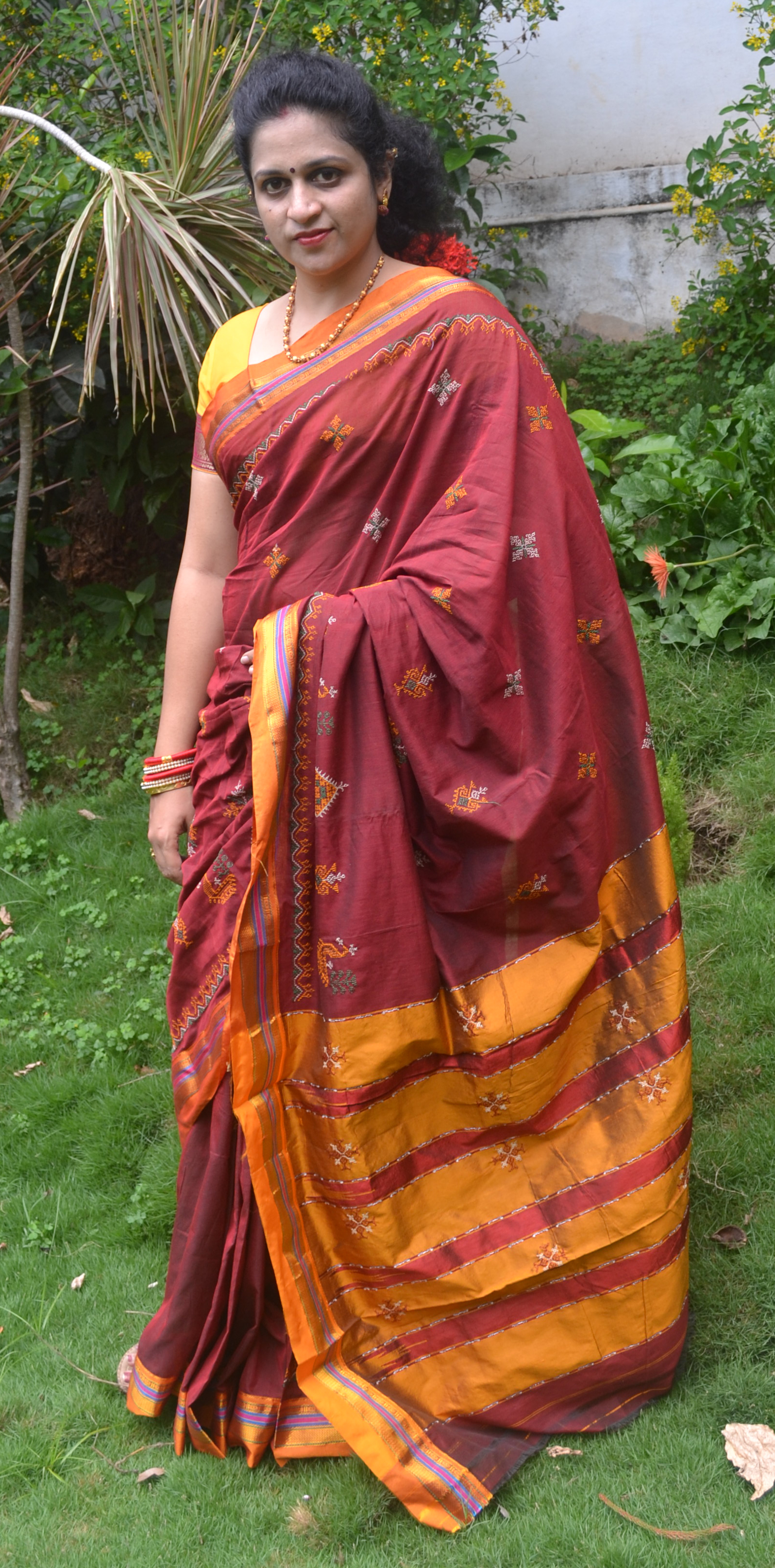 Maroon Color Cotton Silk Saree with Yellow Border